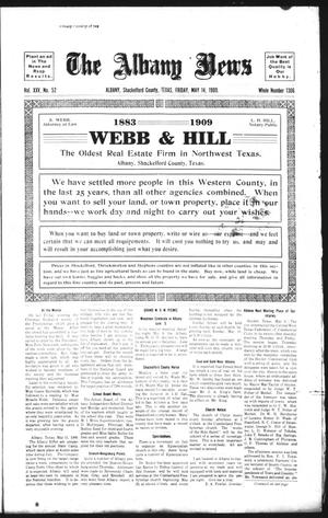 Primary view of object titled 'The Albany News (Albany, Tex.), Vol. 25, No. 52, Ed. 1 Friday, May 14, 1909'.