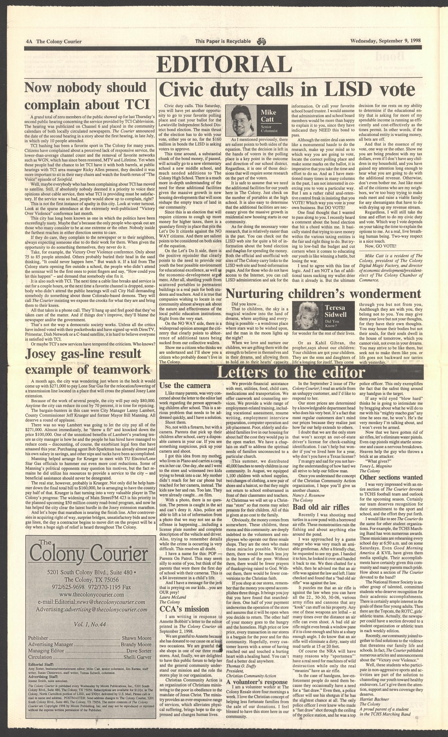 The Colony Courier (The Colony, Tex.), Vol. 1, No. 44, Ed. 1 Wednesday, September 9, 1998                                                                                                      [Sequence #]: 4 of 12