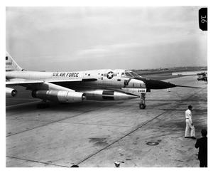 Primary view of object titled 'B-58 Arrives at Los Angeles at end of Trophy Flight'.
