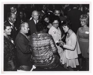 Primary view of object titled '[Barbara Jordan Surrounded by Guests]'.