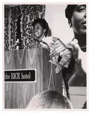 Primary view of object titled '[Barbara Jordan at Podium]'.