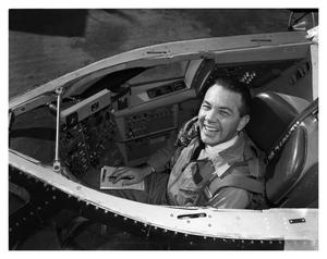 Primary view of object titled 'Val Prahl in the Cockpit of B-58'.