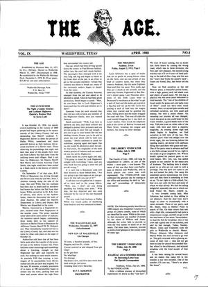Primary view of object titled 'The Age, Volume 9, Number 4, April 1988'.