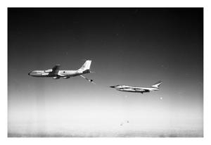 Primary view of object titled '[KC-135 Re-fueling B-58 in Flight]'.