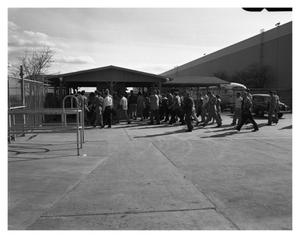 Primary view of object titled '[Employees Leaving Plant After Shift Change]'.