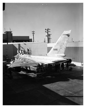 Primary view of object titled '[Rear View of B-58 in Run Station]'.