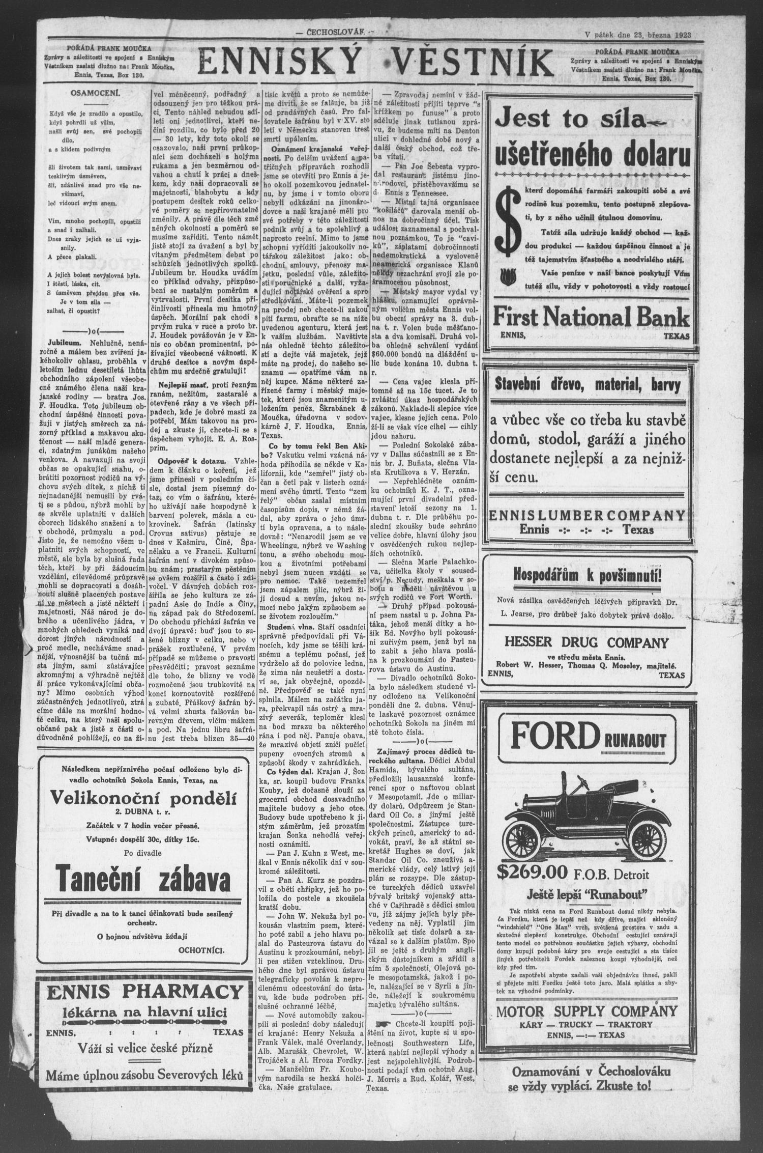 Čechoslovák and Westske Noviny West Tex Vol [12] No [12] Ed