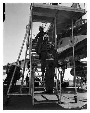 Primary view of object titled '[Air force Flight Crew in Pressure Suits]'.