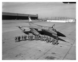 Primary view of object titled '[Convair Flight Crews Beside B-58]'.