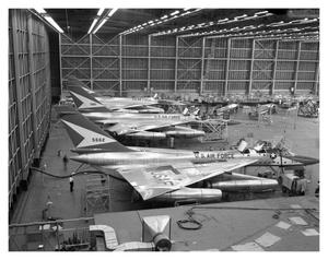 Primary view of object titled '[B-58's in Experimental Building]'.