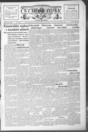 Primary view of object titled 'Čechoslovák and Westske Noviny (West, Tex.), Vol. 36, No. 16, Ed. 1 Friday, April 18, 1947'.