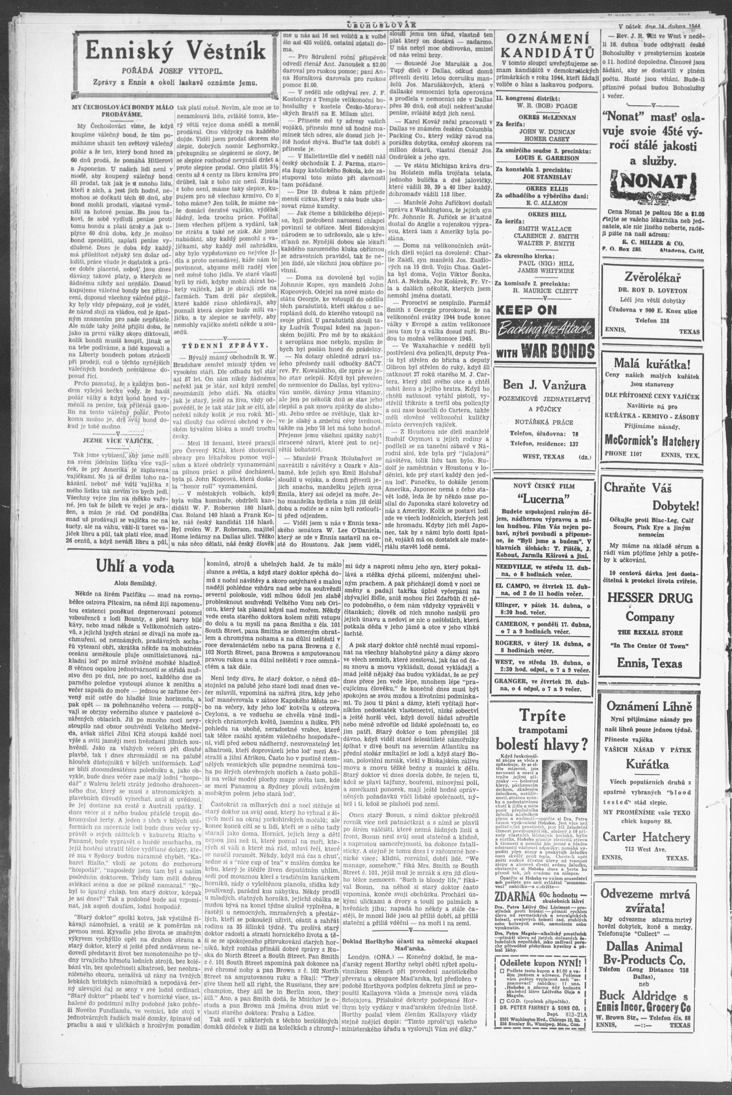 Čechoslovák and Westske Noviny West Tex Vol 33 No 15 Ed 1