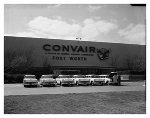 Primary view of object titled 'New Cars in Front of Convair Plant'.