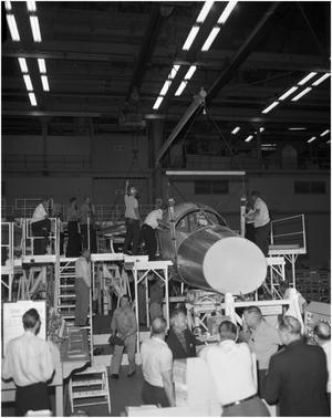 Primary view of object titled 'F-111 A/P #1 Moving to Final Assembly'.