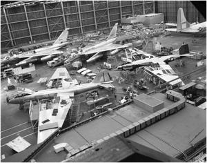 Primary view of object titled 'B-57s in Airplane Hanger'.