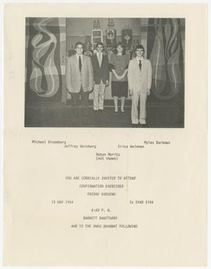 Primary view of object titled '[Confirmation Invitation for Ahavath Sholom, 1984]'.