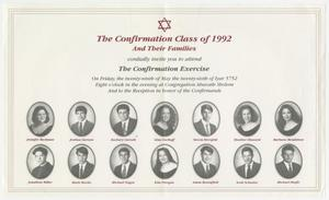 [Confirmation Invitation for Ahavath Sholom, 1992]