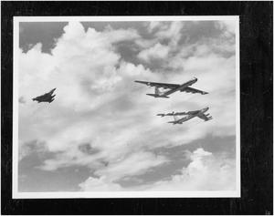 Primary view of object titled 'B-58, B-36, and B-52 In Flight'.