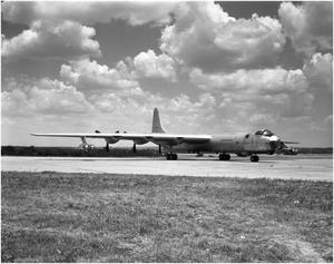 Primary view of object titled 'B-36D #93, 3/4 Right Front View'.