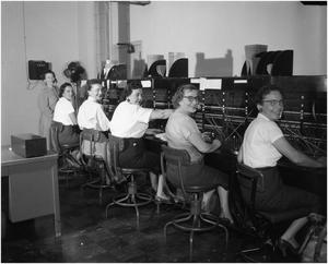 Primary view of object titled 'Telephone Operators at Switchboard'.