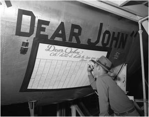 Primary view of object titled 'J.D. Lee signs Last B-36'.