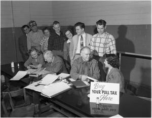 Primary view of object titled 'Paying Poll Tax in Cafeteria'.