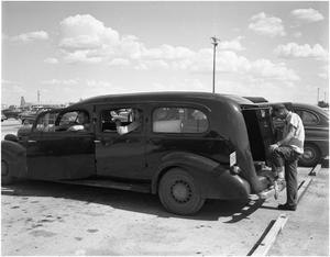 Primary view of object titled 'Old Hearse used for Transportation at Convair'.