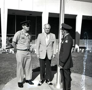 Primary view of object titled '[Photograph of Elwin L. Skiles at Flagpole Dedication]'.