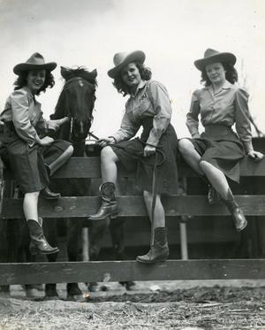 Primary view of object titled '[Photograph of Cowgirls with Horse]'.