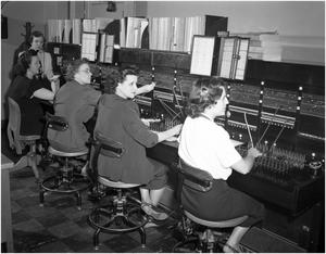 Primary view of object titled 'Telephone Switchboard with Operators'.