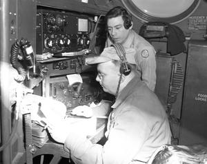 Primary view of object titled 'A. F. Radio Operators in B-36 Airplane'.