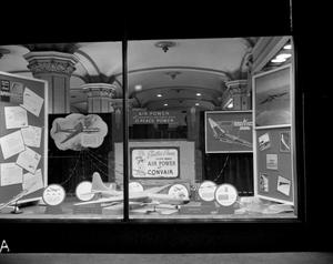Primary view of object titled 'B-36 and B-49, Display window at Texas Electric'.