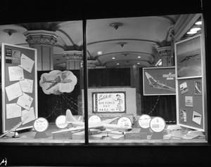 Primary view of object titled 'Display window at Texas Electric for Air Force Day'.