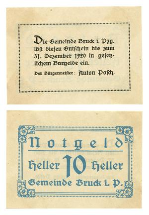 Primary view of object titled '[Bank note from Germany in the denomination of 10 heller]'.
