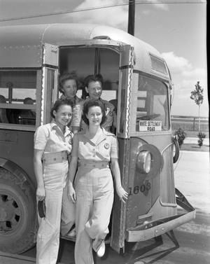 Primary view of object titled '[Four Women Exiting a Bus]'.