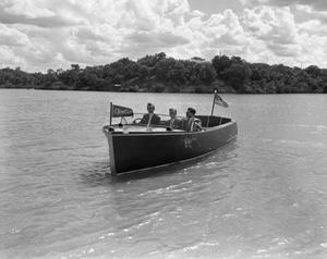 Primary view of object titled '[Photograph of Launching of Chris Craft Boat]'.