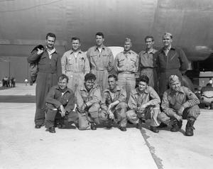 Primary view of object titled '[Crew of B-36A10 at Conclusion of a Long Range Flight]'.