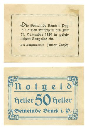 Primary view of object titled '[Bank note from Germany in the denomination of 50 heller]'.