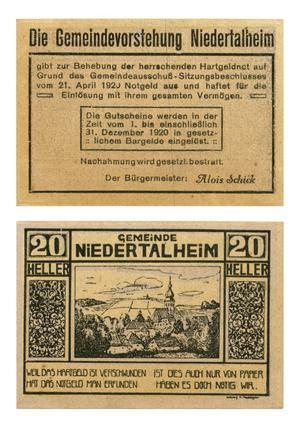Primary view of [Voucher from Germany in the denomination of 20 heller]