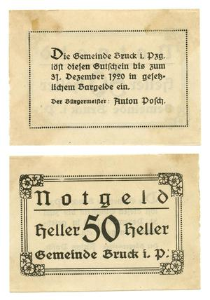 [Bank note from Germany in the denomination of 50 heller]