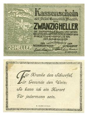 Primary view of object titled '[Voucher from Germany in the denomination of 20 heller]'.