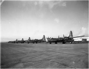 Primary view of object titled 'B-32s lined up on Army Delivery Row'.