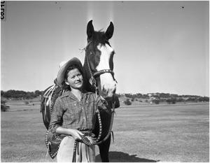 Primary view of object titled 'Jewell Armstrong and her horse Mollie'.