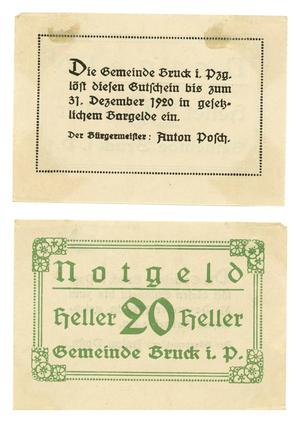 Primary view of object titled '[Bank note from Germany in the denomination of 20 heller]'.