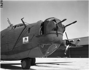 Primary view of object titled 'Closeup of Longhorn on B-24'.