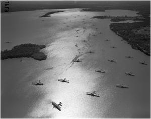 Primary view of object titled '40 airplanes on Lake Worth to Escape Gulf Storm'.