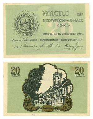 [Bank note from Germany in the denomination of 20 heller]