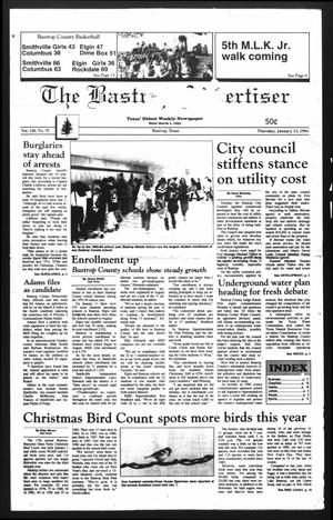Primary view of object titled 'The Bastrop Advertiser (Bastrop, Tex.), Vol. 140, No. 91, Ed. 1 Thursday, January 13, 1994'.