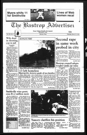 Primary view of object titled 'The Bastrop Advertiser (Bastrop, Tex.), Vol. 141, No. 9, Ed. 1 Thursday, March 31, 1994'.