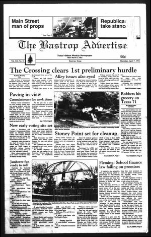 Primary view of object titled 'The Bastrop Advertiser (Bastrop, Tex.), Vol. 141, No. 11, Ed. 1 Thursday, April 7, 1994'.